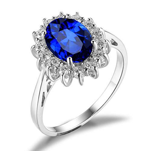 Jewelrypalace Solid Sterling Silver 2.1ct Created Blue Sapphire Kate Middletons Princess Diana Engagement Ring Size 7