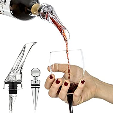 Vinomaster Red Wine Aerating Pourer Decanter Spout Gift Set and Best Bottle Stopper Bar Accessory