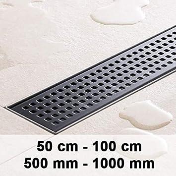 CLP Canalina di scarico per doccia PENANG in acciaio INOX, sifone incluso, set completo canaletta di scarico per doccia Nero (acciaio inox) 500mm/50 cm