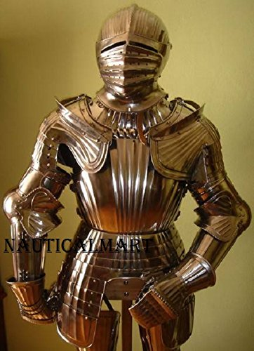 Maximilian suit Renaissance of Armor Halloween Costume With Closed Helmet Knight Suit Of Templar Armor by NAUTICALMART