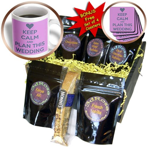 3dRose Keep Calm and Plan This Wedding Coffee Gift Basket, Multi