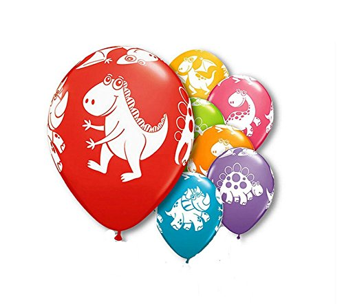 9Snail Dinosaurs Festive Assortment Latex Balloons | 11 inch - Assorted Colors | Bag of 30 pcs. | White Dinosaur print | delivered un-inflated | Kids Dinosaur Birthday Party Favor Decoration