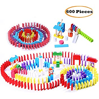 Wondertoys 600 Pieces Wooden Dominoes Set Building Blocks Race Tile Game Educational Toys Gifts for Boys and Girls