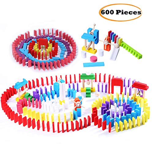 Wondertoys 600 Pieces Wooden Dominoes Set Building Blocks Race Tile Game Educational Toys Gifts for Boys and - Set Wooden Dominoes Game