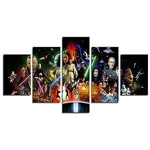 Lienzo impreso de YspgArt66 con 5 paneles de la película Star Wars, pintura artística de pared para cualquier parte del… 11