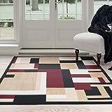 Cheap Lavish Home Modern Block Area Rug, 5′ x 7'7″, Tan
