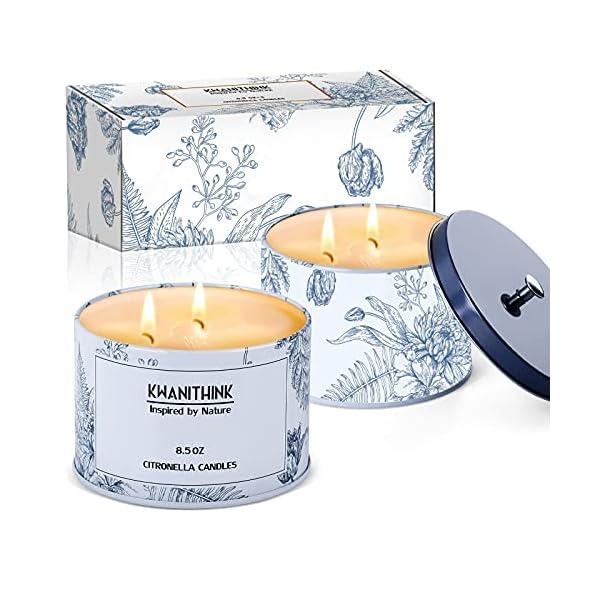 51ohBO24SMS KWANITHINK Citronella Kerze,2 x 36 Stunde Natürliche Sojawachs Kerzen, Duftkerze Citronella Kerzen outdoor perfekt für…