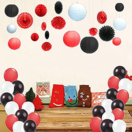 Kubert 91 Pcs Black Red White Tissue Pom Poms Paper Flowers Paper Lanterns for Birthday Party Decoration