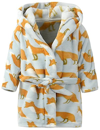 Ameyda Kids Pajamas Sleepwear Flannel Hooded Bathrobe With All Over Print Fox Color,110 -