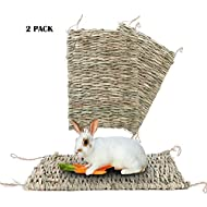 BESAZW Seagrass Mats for Rabbits Grass Mat Rabbit Hay Feeder Bunny Guinea Mats Toys Wood 15.7