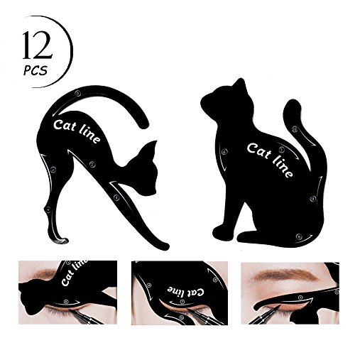 TailaiMei 12 Pcs Cat Eyeliner Stencils, Matte PVC Material Smoky Eyeshadow Applicators Template Plate, Cat Shape Eye liner & Eye Shadow Guide Template - Wing Cat
