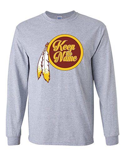 Long Sleeve Adult T-Shirt Keep The Name Washington Football Parody DT (XXXXX Large, Sports Gray)