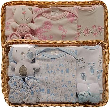 Cesta de regalo para bebé, 5 piezas, para fiesta de nacimiento azul azul: Amazon.es: Bebé