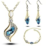 Sapphire 18k Gold Plated Light Blue Teardrop Bracelet Swarovski Set Crystal Earrings Pendant Necklace