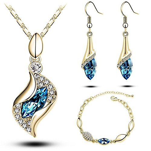 Sapphire 18k Gold Plated Light Blue Teardrop Bracelet Swarovski Set Crystal Earrings Pendant (Mistral Set Ring)