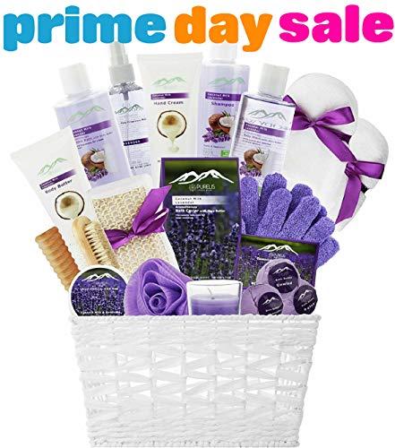 Spa Gift Baskets Beauty Gift Basket - Spa Basket, Spa Kit Bed and Bath Body Works Gift Baskets for Women! Bath Gift Set Bubble Bath Basket Body Lotion Gift Set for Holidays (Lavender Coconut Milk)