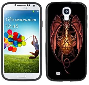 Dragon Pentagram Pentacle Handmade Samsung Galaxy S4 Black Bumper Hard Plastic Case