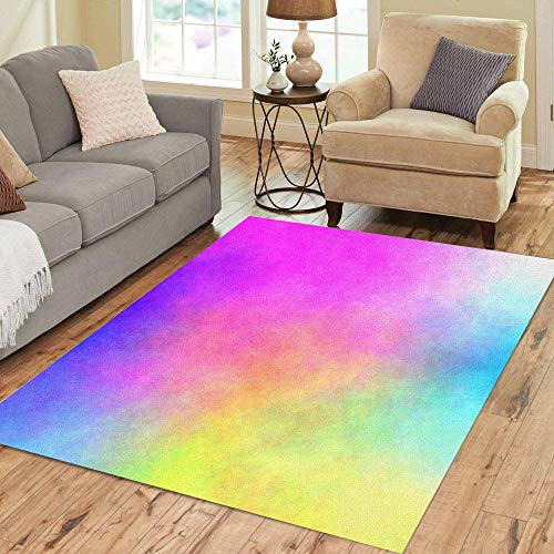 Pinbeam Area Rug Pink Rainbow Watercolor Chaotic Clouds Pattern Yellow Abstract Home Decor Floor Rug 5' x 7' Carpet