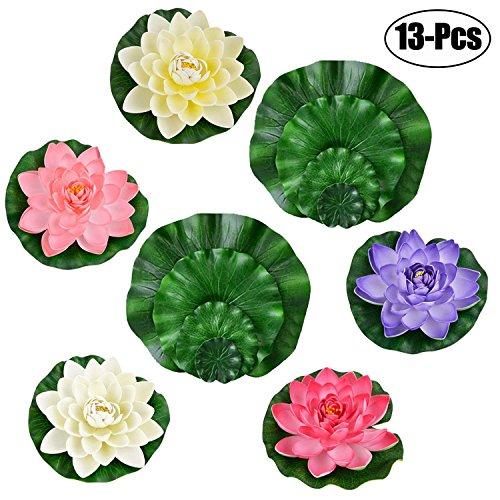 Legendog - Flores de Loto Artificiales flotantes con Hojas de Loto Falsas, Decoración para el hogar, Jardín, Estanque,...