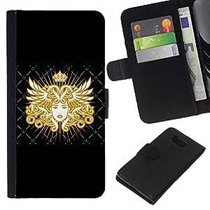 EJOY---La carpeta del tirón la caja de cuero de alta calidad de la PU Caso protector / Samsung ALPHA G850 / --Diosa de Oro Reina Arte Real Mujer