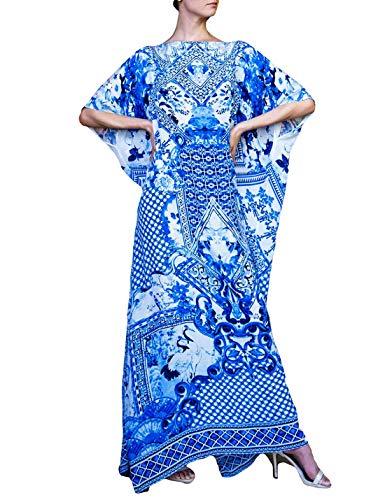 - Ailunsnika Women Boho Ethnic Print Kaftan Dress Swimsuit Bikini Cover Up Beach Long Maxi Turkish Dress