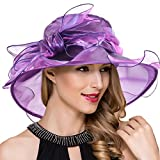Women's Church Kentucky Derby Fascinator Tea Party Organza Hat (Purple)