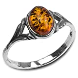 Amber Sterling Silver Celtic Small Thin Ring