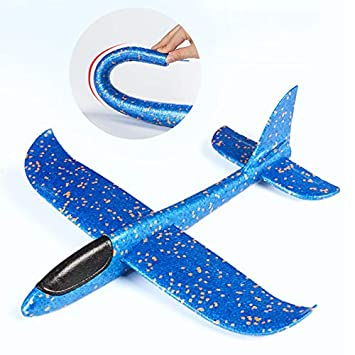 ALXDR Foam Airplanes For Kids Manual Throwing Inertial Plane Model For Outdoor Sports Toy & Kids Toys Gift,Blue