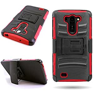 Hybrid Heavy Duty Case with Hard Kickstand Belt Clip Holster for LG G Vista [Verizon Only] - Red + Black