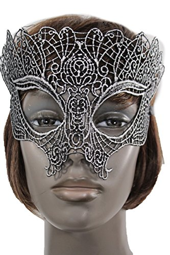 Online Halloween Costume Contests 2016 (TFJ Women Men Halloween Half Face Eye Cover Mask Fashion Costume Black Fabric Silver Detail Mardi Gras)