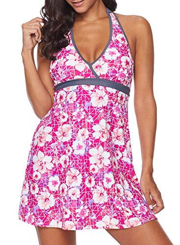(Dearlove Womens Floral Print Halter V Neck Swimdress Backless Tankini One Piece Swim Dress Swimsuit Skirt Swimwear Rose L)