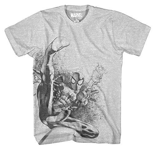 Marvel Men's Flip Spinner Short Sleeve T-Shirt, Heather, Large