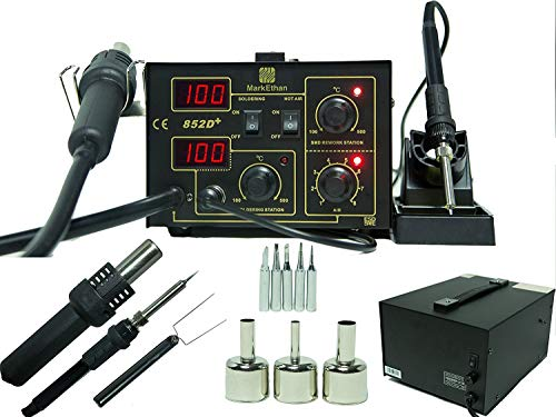 2 in 1 SMD Soldering Hot Air Rework Station + Stand 3 Nozzle 5 Tips 852d+ Iron Mark Ethan by Mark Ethan