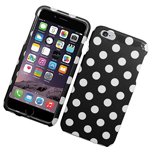 iPhone 6 Plus/6s Plus Case, Insten Polka Dots Rubberized Hard Snap-in Case Cover for Apple iPhone 6 Plus/6s Plus, Black/White