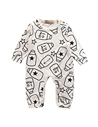 Newborn Baby Girl Boy Romper Milk Pajamas Bodysuit One-piece Outfits, Size 3 Months