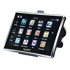 EasySMX 7 Pouces GPS Auto, GPS Voiture RAM 128M ROM 8G, GPS Navigation avec Pre-loaded 52 Pays Carte, GPS Europe 7 pouces Ecran Large Tactile, 1500mah Batterie, Supporte Multi-languages (Argent)
