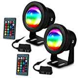 LUNSY Aquarium light, submersible led lights, waterproof IP67 Multicolored RGBW Underwater lights, Aquarium spotlights for Fish Tank Pond Swimming Pool Fountain with Remote Control (2pack)
