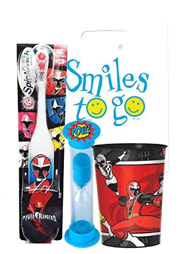Power Rangers Boy 3pc Bright Smile Oral Hygiene Bundle! Turbo Spin Toothbrush, Brushing Timer & Mouthwash Rinse Cup! Plus Dental Gift Bag & Tooth Saver Necklace! ()