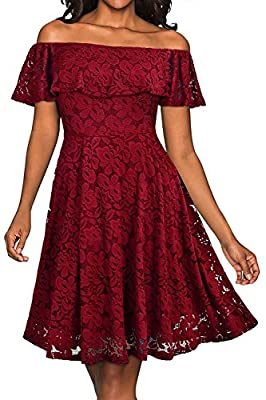 YIXUAN Women's Vintage Casual Off Shoulder Lace Party Cocktail Flare Swing A-Line Dress
