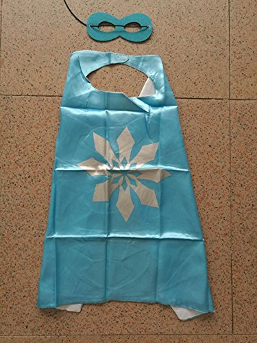 Superhero Halloween Party Cape and Mask Set for Kids 15+ Styles! (Frozen Snowflake (Blue 2)) (70s Cop Costume)
