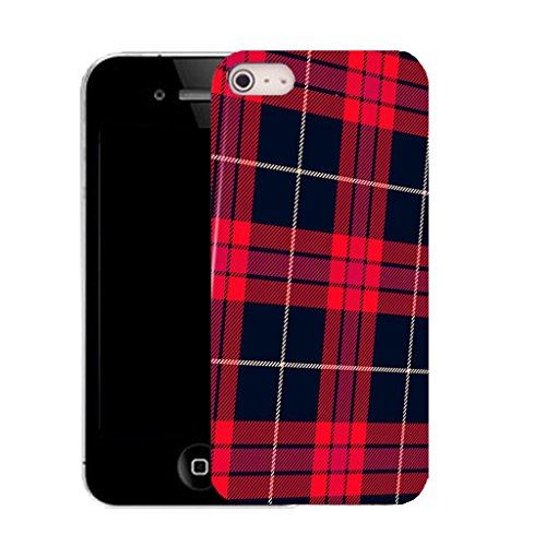 Mobile Case Mate IPhone 5S clip on Silicone Coque couverture case cover Pare-chocs + STYLET - red tartan pattern (SILICON)