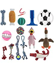 Mosodo Dog Toys 15 Pieces Value Pack │ Including Squeaky Toys, Interactive Rope Chew Toys, Funny Plush Toys, Fetch Toys, Silicone Toothbrushes for Small to Large Size Dogs!