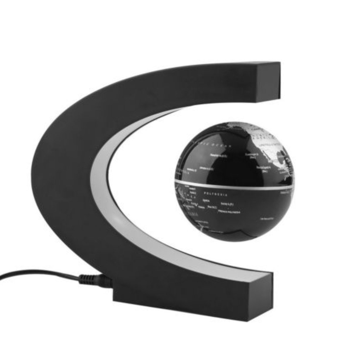 C shape Decoration Magnetic Levitation Floating Globe World Map with Colored LED Light Anti Gravity Globe for Educational Learning Geographic Political World Map,Gift,Home School Desk Decor by wantis