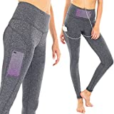 SPARKLE Leggings With Pockets For Women Yoga Depot Athletic Tummy Control XS – XL Grey Black Hight Waist (Large, Charcoal) Review
