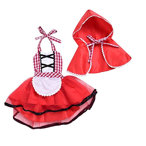 Baby Girl Costumes,Kintaz 2018 Clearence Spring Winter 2pcs Baby Girls Elegant Princess Little Red Riding Hood Costumes Dresses Cosplay with Cloak (Size:6Month)