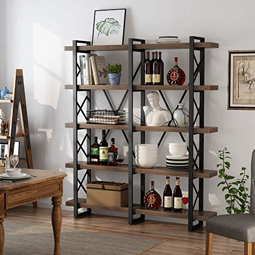 LITTLE TREE 5-Tier Double Wide Open Bookcase, Industrial Large Metal Bookcases Furniture, Vintage Bookshelf Etagere Book Shelves for Home Office Decor Display, Antique Nutmeg