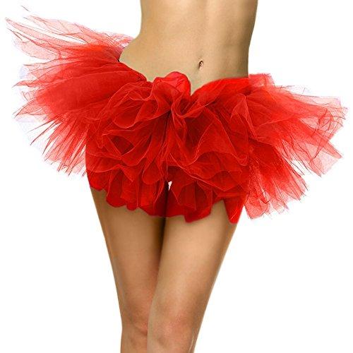 SRANDER Women's Classic 5 Layered Tulle Tutu Skirt red