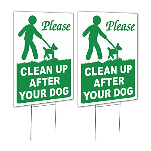 2 Pack 9x12 Clean Up After Your Dog Lawn Signs with H-stakes ()