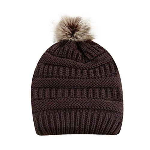 PASATO Sale!Women Winter Warm Crochet Knit Faux Fur Pom Pom Beanie Hat Cap hat for women winter fashion(Coffee,Free Size)