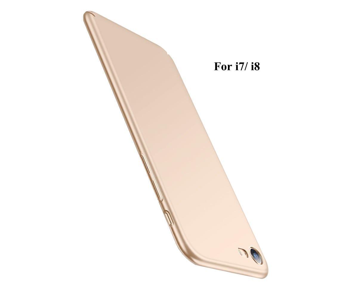 超薄型iPhone 7ケース、[強化ガラススクリーンプロテクター付き] Iphone 7 Plusカバーウルトラスリムフルカバー保護アンチスクラッチおよびアンチフィンガープリントカバーケース(ゴールド)   B078WC9V97
